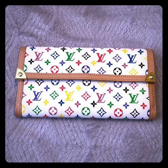 Louis Vuitton Wallet White W Colored Logo